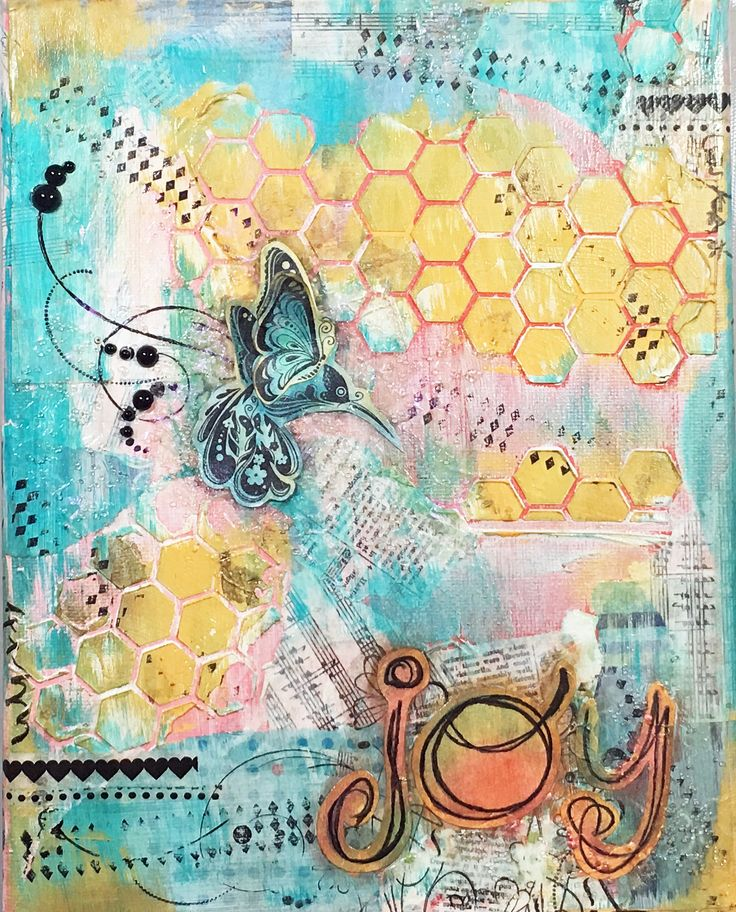 "Mixed Media canvas, Joy was my ""One Little Word"" last year and I created this canvas to hang on my wall as a reminder."