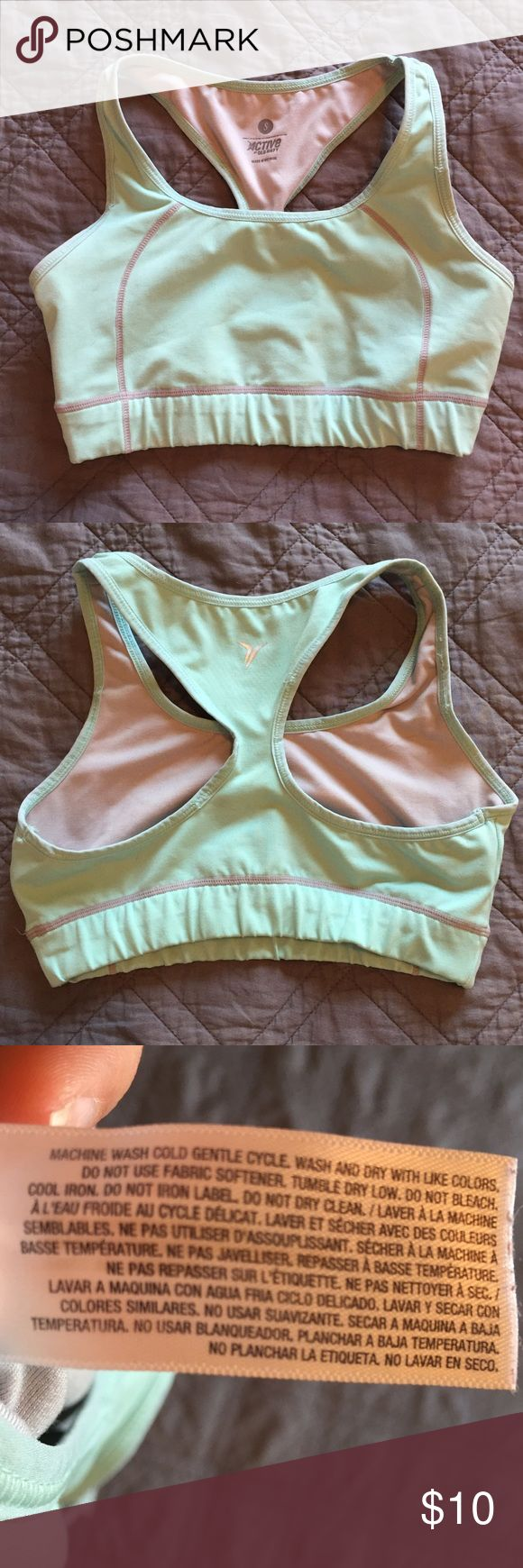 Old Navy Active Mint Green Sports Bra I swear by old navy sports bras. They last forever, and they provide excellent support.  very lightly pre-worn. Excellent condition. Old Navy Intimates & Sleepwear Bras