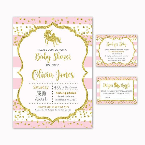 Unicorn Baby Shower Invitation  Book for Baby  Diaper