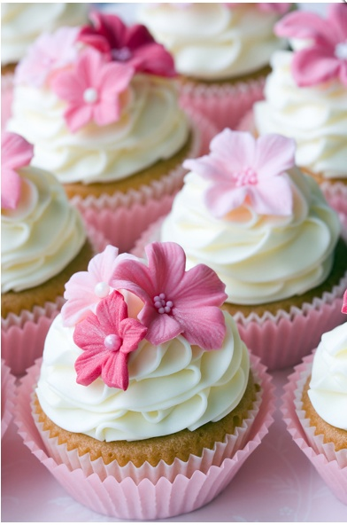 Pretty pink floral cupcakes