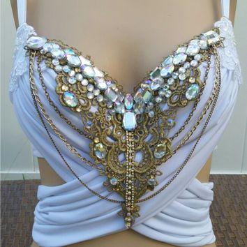Glam Greek Goddess Design Custom Bra Costume Lingerie Rave Bra