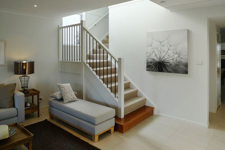 [Carpeted staircase with a feature timber bullnose. Made by Genneral Staircase.]   Tags: carpet stairs   carpet staircase   timber stairs   timber staircase   bullnose