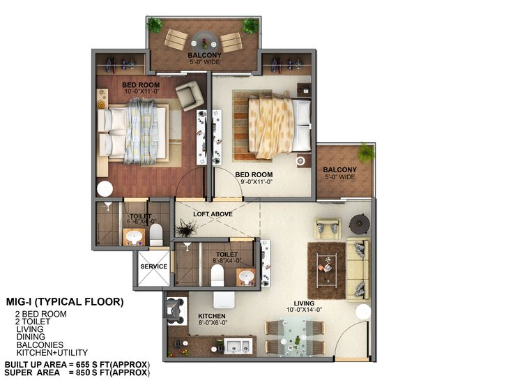 Floor plan- 850 sqft: 2 Bhk+ 2 Bath+ 2 Balconies.