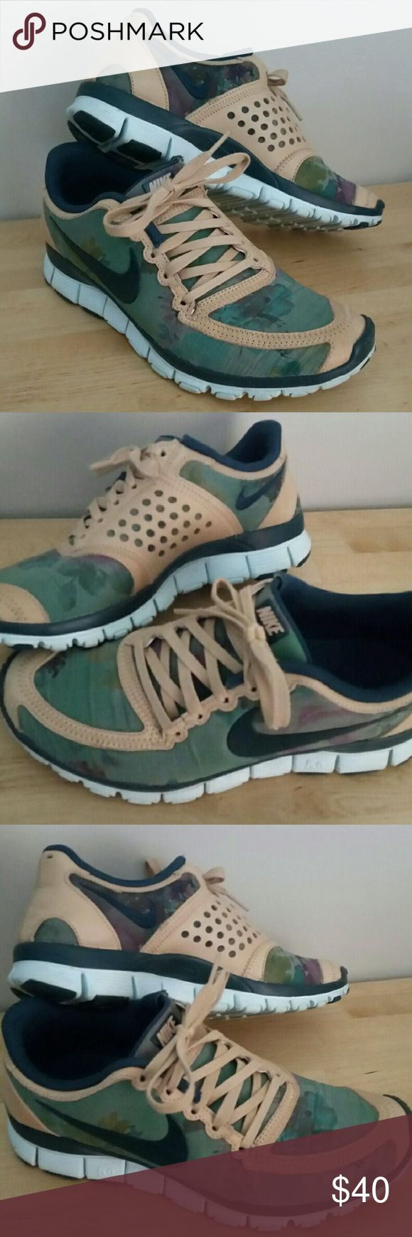 NIKE FREE 5.0 >> WMNS 7.5 Limited addition and BRAND NEW. Worn a few times inside my house but are just too small for me. These shoes run smaller then the average 7.5 size Nike!! Fit truer to a size 7.  Color: Camouflage,  Light Blue, Tan Size: 7.5  NEW, WITHOUT TAGS Smoke free and pet free home Nike Shoes Sneakers