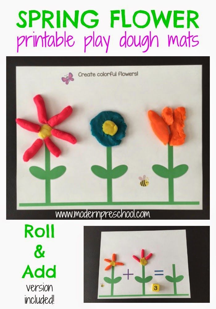 Spring Flower Play Dough Mats for preschoolers! Create flowers and work on number recognition and counting skills. Free printables included in post | Modern Preschool