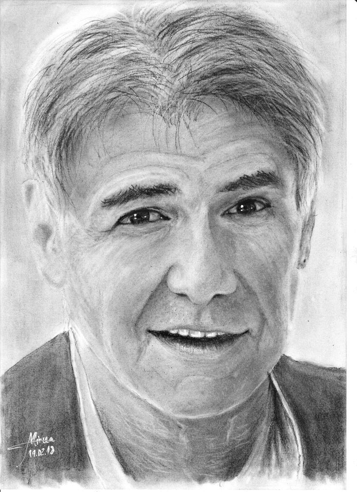 """""""Harrison Ford"""" drawing charcoal 20x30 by Mircea Craciunel."""