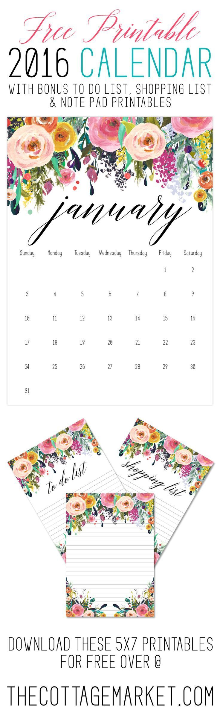 Free Printable 2016 Calendar /// with Bonus Free To Do List, Shopping List & Note Pad Printables