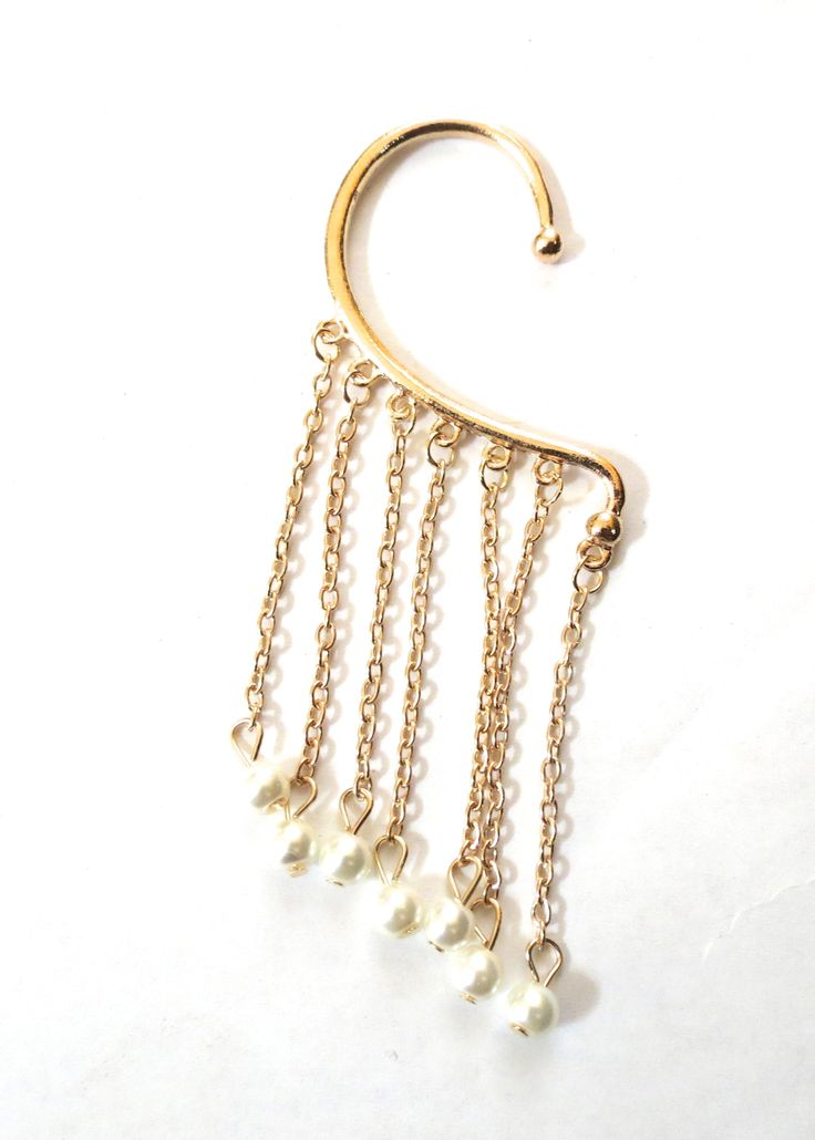 Pearl and gold earring cuff  Shop now at www.Ohtrends.com