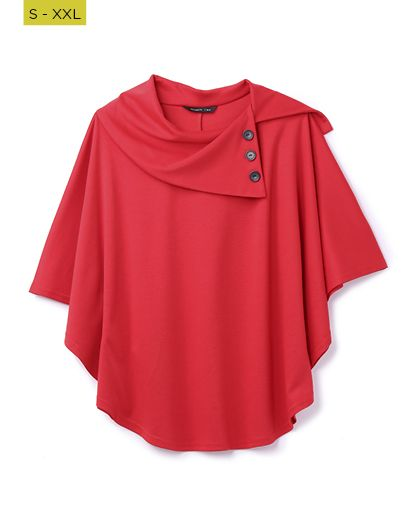 red ponte poncho with button detail