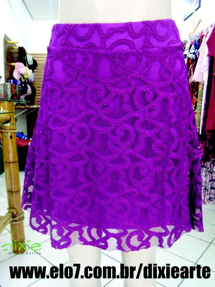 Saia Renda Roxa  www.elo7.com.br/dixiearte