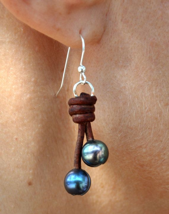 Pearl and Leather Earrings 2 Pearl Drop by ChristineChandler