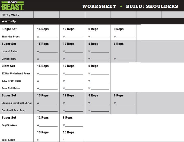Body Beast Chest And Tris Workout Sheet | Av Workout