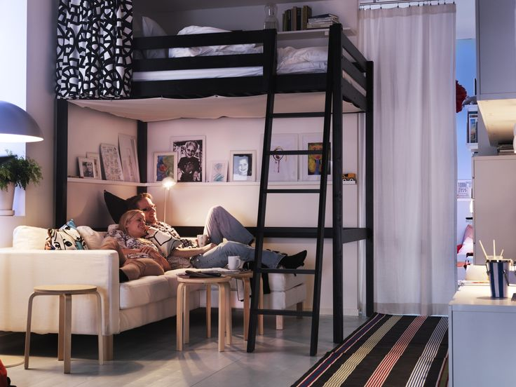 The STORÅ loft bed frame allows you to use the space under the bed for storage, as a workspace or a seating area