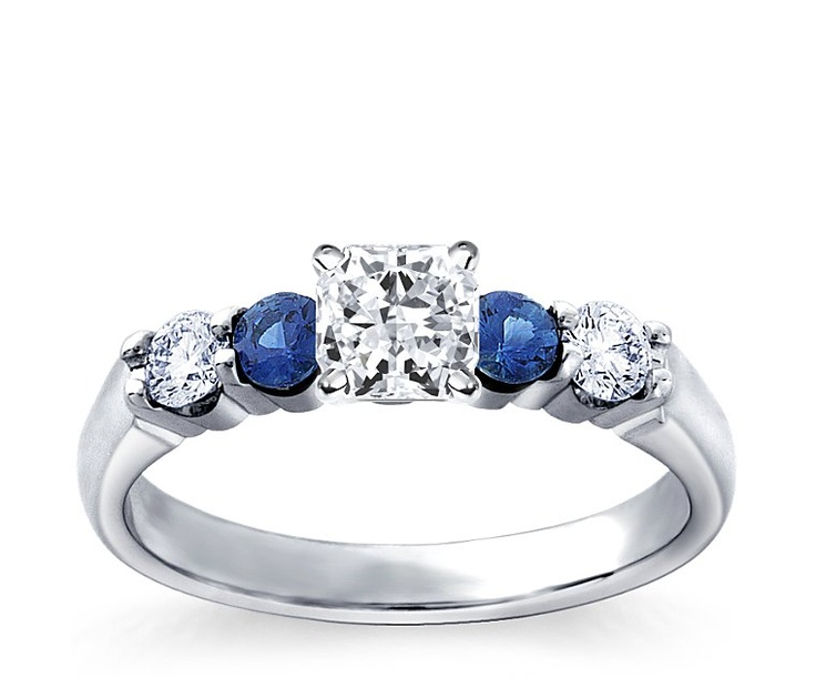 bella sapphire engagement ring radiant cut 109 carat 18k white gold build your - Build Your Own Wedding Ring