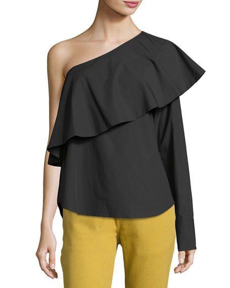 dc2bc95f16d Robert Rodriguez Women Top One-Shoulder Ruffle Poplin Blouse Cotton Black 6  #RobertRodriguez #Blouse