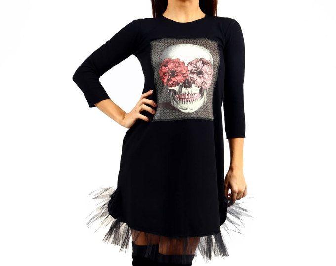 Short Dress with Skull Stamp/Tutu Skirt/Skull Print/Party Skirt/Women Tulle dress/Black skull dress/Punk Mini dress/Sugar Skull Dress 073