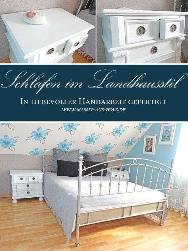 Landhaus Nachttisch Mit 3 Schubladen Schlafzimmer Einrichten