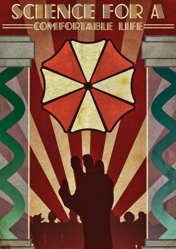 Resident Evil Art déco Style Art par GeekOnFire sur Etsy