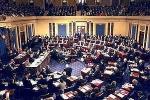 Impeachment trial of President Bill Clinton, in the US Senate with Chief Justice William Rehnquist presiding, 1999.