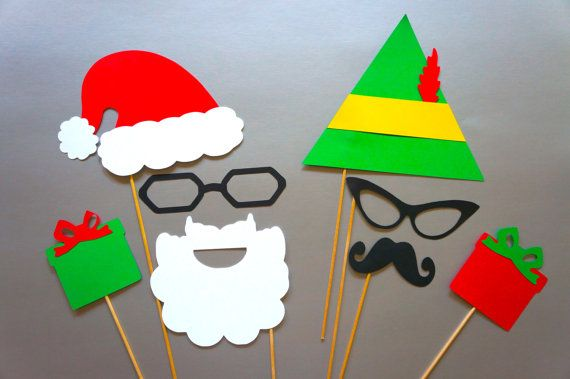 Christmas Photo Booth Props - 8 piece set of Photobooth Props - Santa and Elf