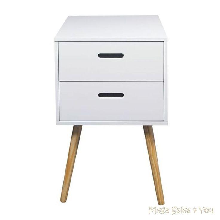 Scandinavian Retro Bedside Table Wooden 2 Drawers Storage Unit Cabinet Bedroom in Home, Furniture & DIY, Furniture, Bedside Tables & Cabinets | eBay!