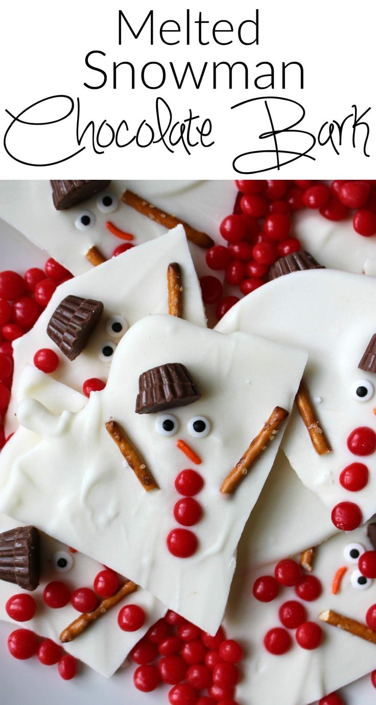 Melted Snowman Chocolate Bark - Princess Pinky Girl || Christmas Bark Kids Can Make: 5 Fun Ideas! || Letters from Santa Holiday Blog