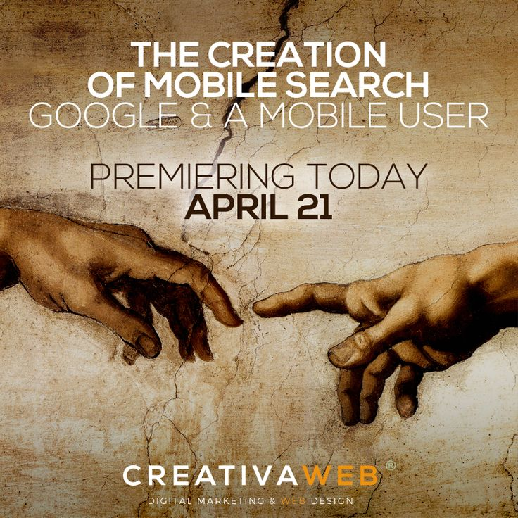The Creation of Mobile Search. The Google`s mobile friendly algorithm is shaking the world of internet these days and it is becoming a serious pain for some companies that haven't realized that mobile is here to stay. Check out this post here: www.creativaweb.c... #mobilefriendly #google #mobilemadness #Responsive #mobile #marketing #digital #graphic #design