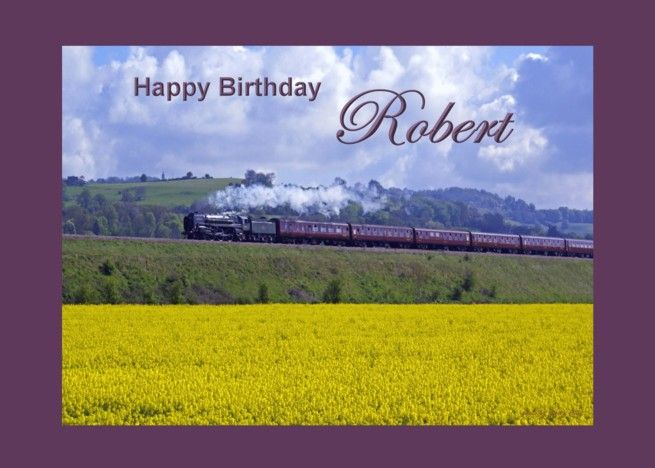Happy Birthday Train And Golden Field For Robert Card Ad Ad