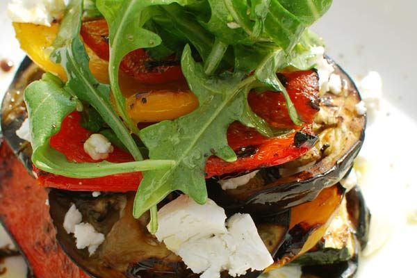 Char Grilled Vegetable Stacks With Rocket And Pine Nut Salad
