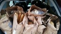 This donation is courtesy of Diamond City Bakery. 6 bags of bread AND 2 bags of pastries (muffins, rolls, and scones). Our kids will be eating well!!