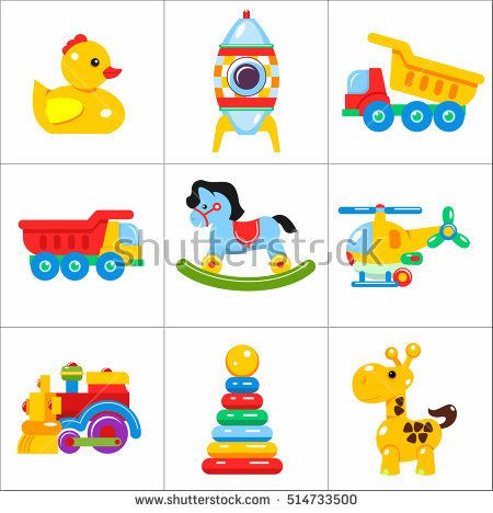 Toys kids. Set of vector icons of children's toys. The development and education of children.