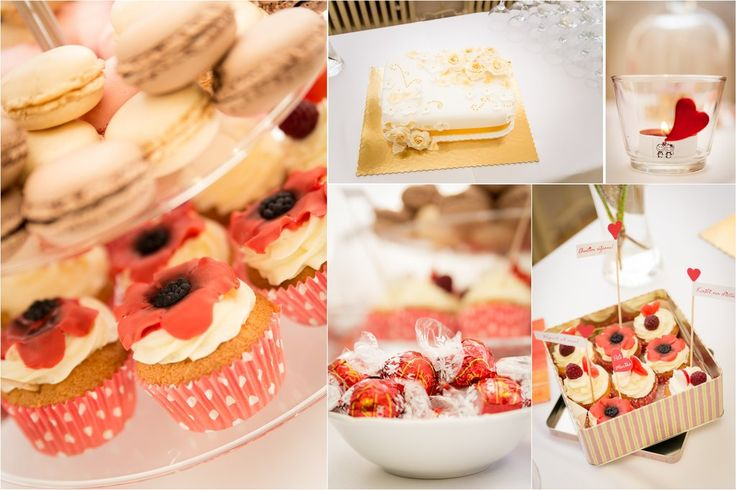 Candy Bar with red poppy cupcakes and red decorations / Mirabelky.com