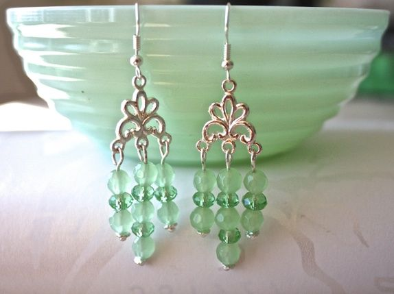 Earrings in minty green