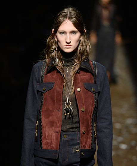 The Trend: Coach 1941's Grimy Goodness—Calling all former goth girls: This thick, grungy braid—complete with '70s-inspired bangs and waxy sideburns—is a slightly spooky look you can get into.