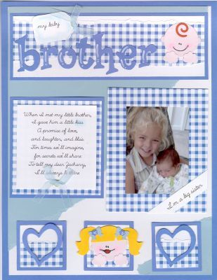 Sweet scrapbook page for a new baby brother.