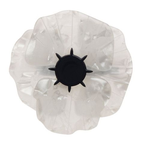 "Erstwilder Limited Edition Poppy Field Brooch in white. ""A pretty white Poppy bringing peace to the world. A smile on the face of every boy and every girl."""