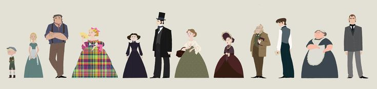 North & South Characters - oh goodness, this is awesome. :) (From right to left: Thomas Boucher, Bessy Higgins, Nicholas Higgins, Fanny Thornton, Mrs. Thornton, John Thornton, Margaret Hale, Mrs. Hale, Mr. Hale, Frederick Hale, Dixon, and Mr. Bell)