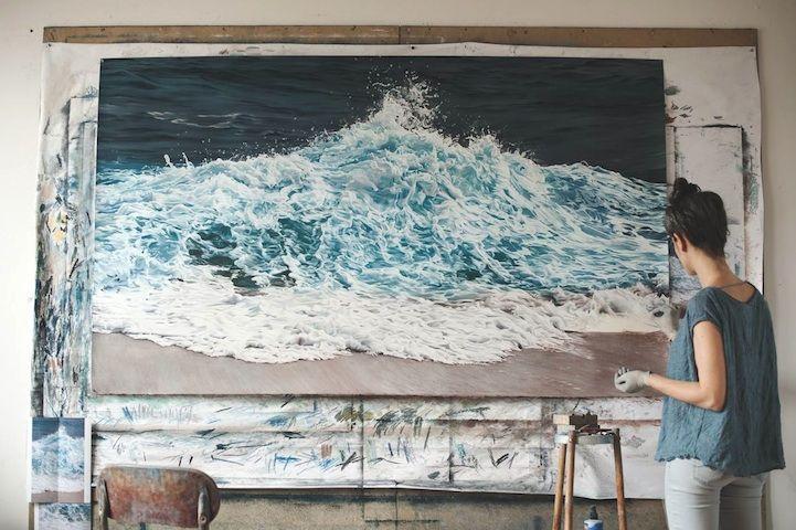 Zaria Forman finger paintings
