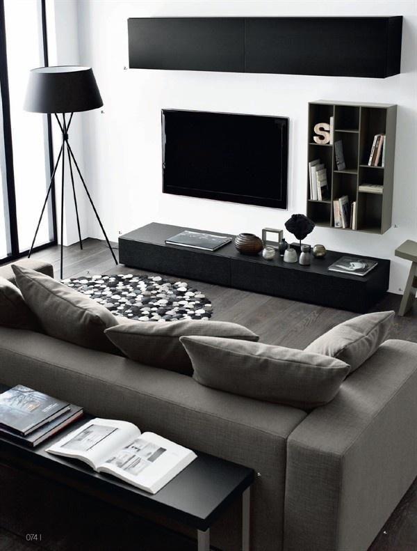Sala com móveis pretos