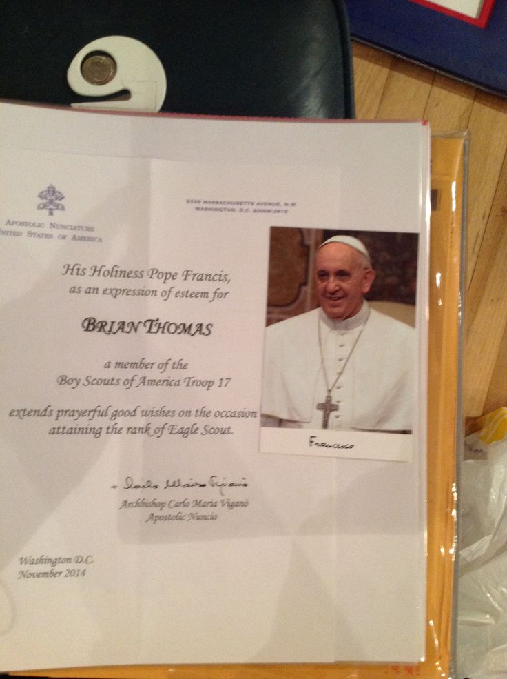 eagle scout court of honor letter of congratulations apostolic nuncio archbishop carlo maria vigano