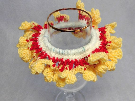 """Japanese hand kawaii shushu / Four - leaf clover Crocheted Scrunchie / Bring luck / White , Red , Yellow - 4.7""""(12cm) #85 by YuminaCafe, ¥1000"""