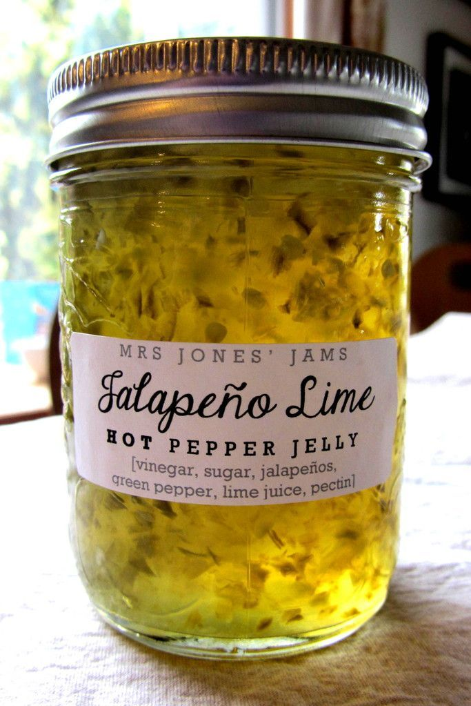 Jalapeno Lime Hot Pepper Jelly - Mrs Jones' Jams. Here's the recipe: 3 cups apple cider vinegar, 1 cup water, 6 cups sugar, 10 jalapeños (finely chopped), 1 green pepper (finely chopped), 3tbsp lime juice, 1 package Certo regular pectin. Mix everything together and bring to rolling boil for 2 minutes. Pour into hot sterilized jars and process in your normal way.