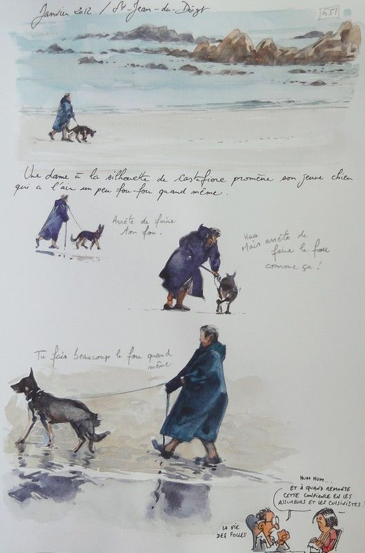 Sortir promener son chien. / Saint-Jean-du-Doigt, Bretagne, France. / Aquarelle. / Watercolor. / By Yann Lesacher, dit Yal.