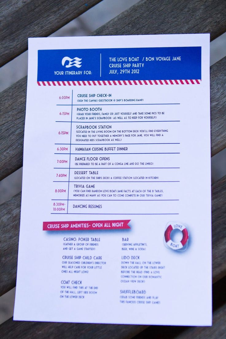 """The Love Boat"" Bon Voyage Party! How cute is this itinerary (menu, too) for a cruise theme party?! My Virtual Vacations"