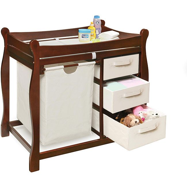 Badger Basket Cherry Changing Table with Hamper and Three Baskets