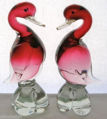 Spectacular MURANO Duck PAIR Cranberry GLASS Bird SCULPTURES Vintage RARE Find
