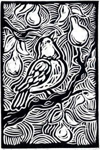 "Original Block Print Christmas Card: ""Partridge in a Pear Tree"" (5 ..."