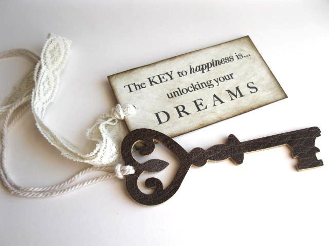 The Key to Happiness - handmade leather key and vintage lace - favor, gift tie on. $8.00, via Etsy.
