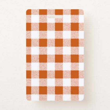 Gingham Check Brown Badge - simple clear clean design style unique diy