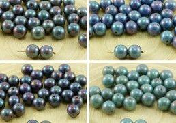 20pcs Nebula Purple Luster Round Druk Pressed Czech Glass Beads 8mm